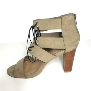 """Torrid 10W Taupe Strappy Laced Heels 3 3/4"""" Heels"""